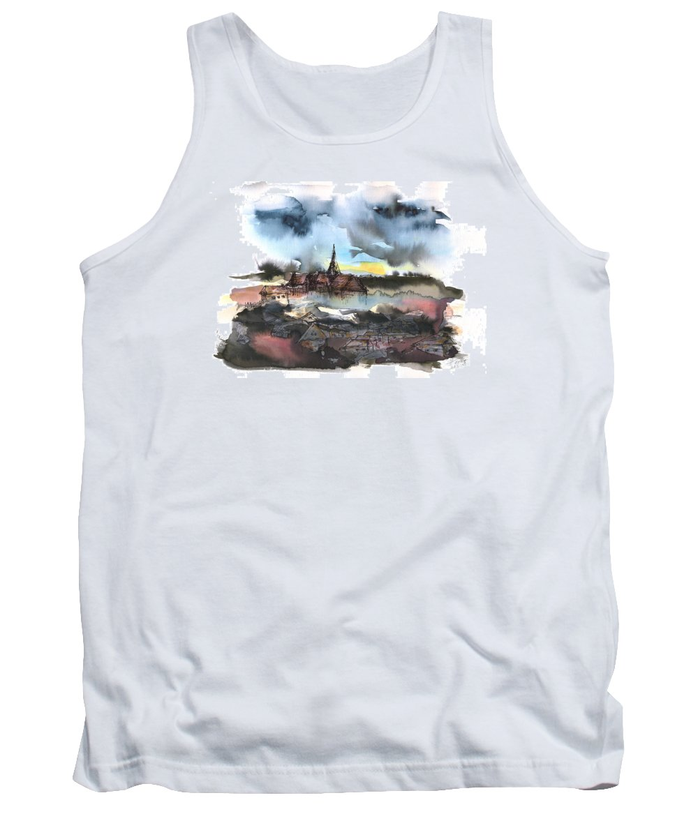 Watercolor Landscape Tank Top featuring the painting The Sinking Village by Aniko Hencz