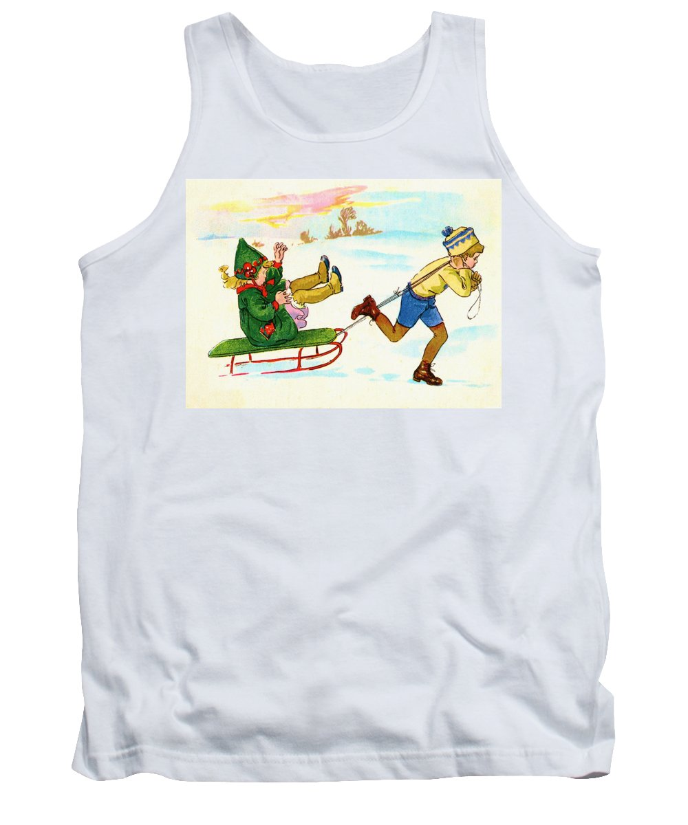 Sled Tank Top featuring the digital art The Sled by Bill Cannon