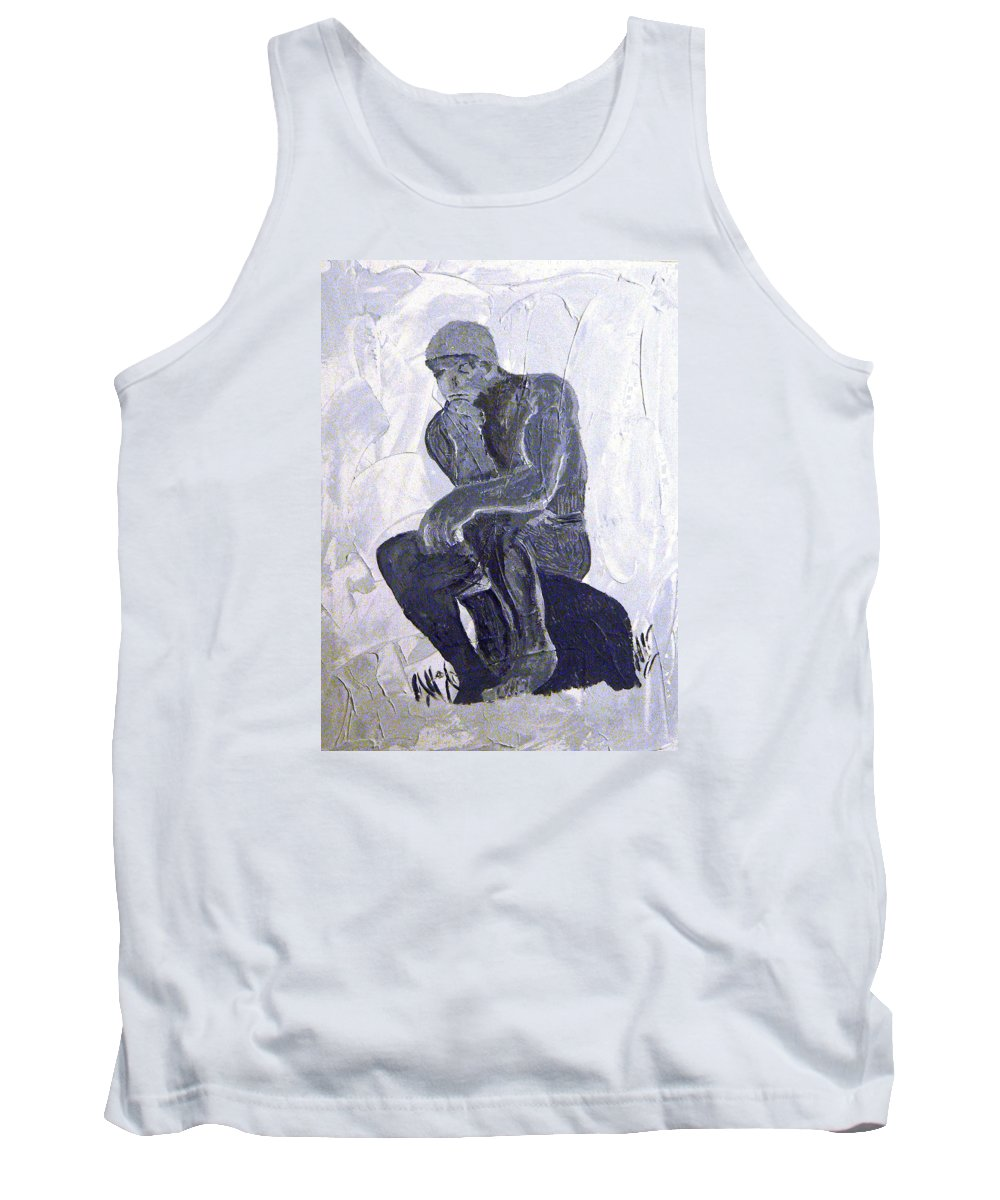 The Thinker Tank Top featuring the painting The Thinker by Josie Tokarski