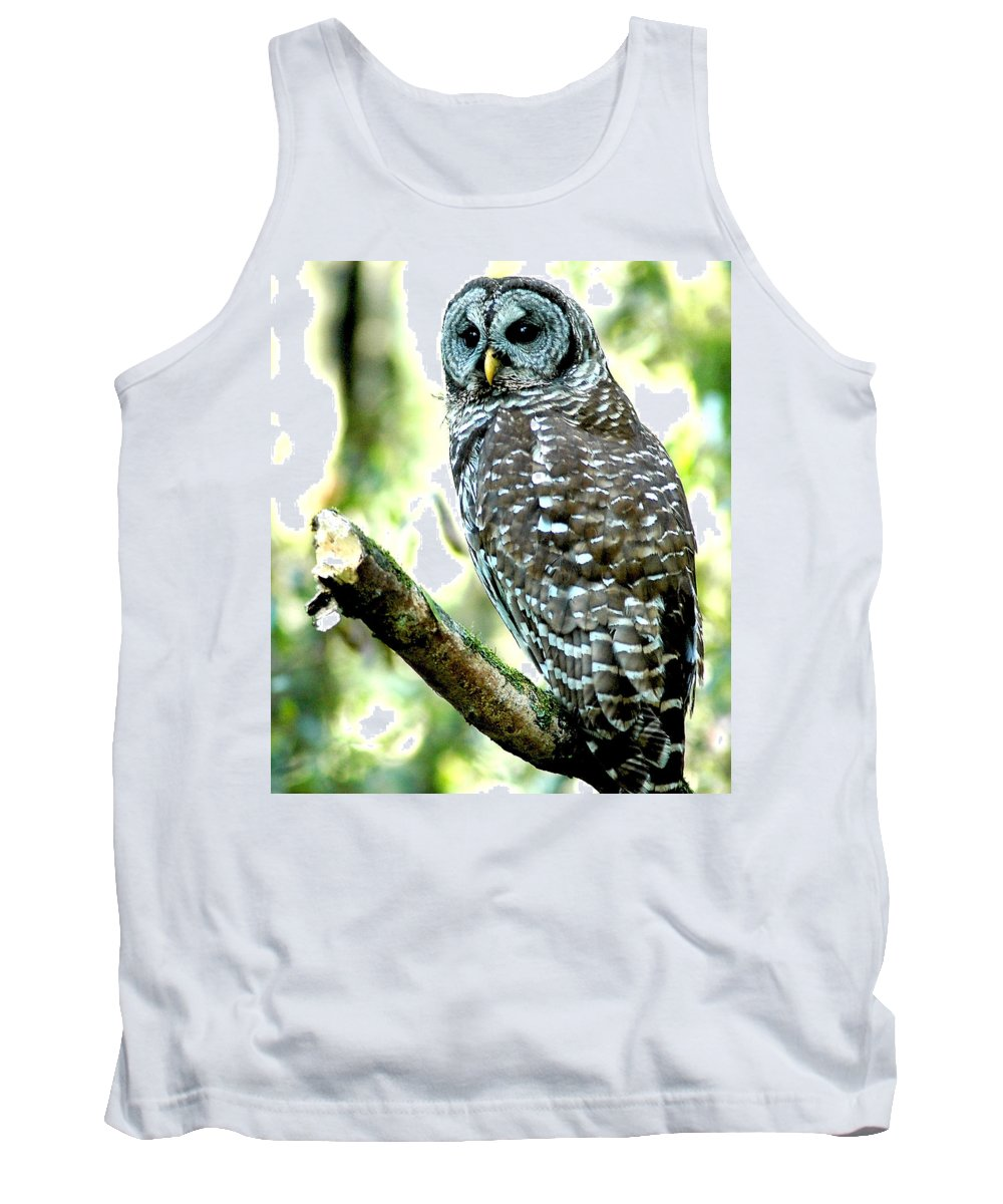 Barred Owl Tank Top featuring the photograph The Watch by Norman Johnson