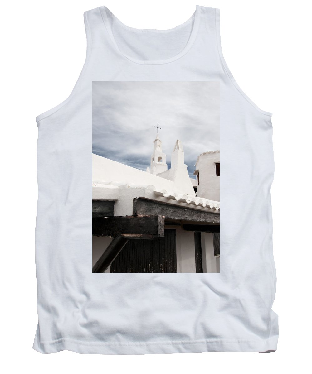 Azure Tank Top featuring the photograph Binibeca Vell In Menorca Is A Small Fishermen Villa With The Taste Of Past Times - The White Chapel by Pedro Cardona Llambias