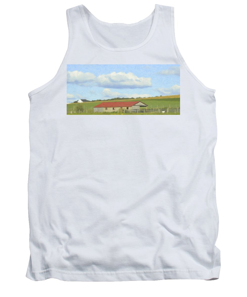 Cloud Tank Top featuring the mixed media The Whole Farm To Himself by Trish Tritz