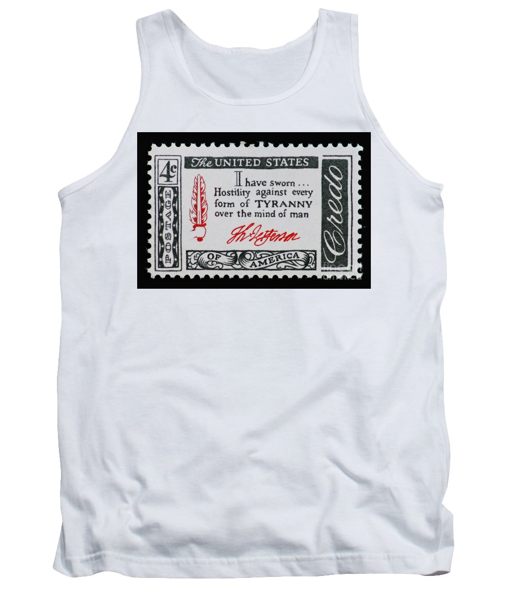 Vintage Tank Top featuring the photograph Thomas Jefferson American Credo Vintage Postage Stamp Print by Andy Prendy