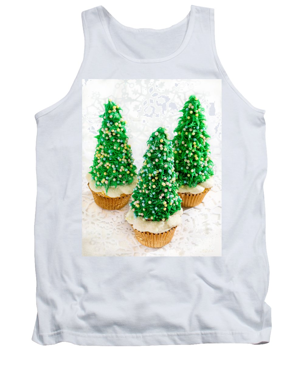 Christmas Tree Cupcakes Tank Top featuring the photograph Three Christmastree Cupcakes by Iris Richardson