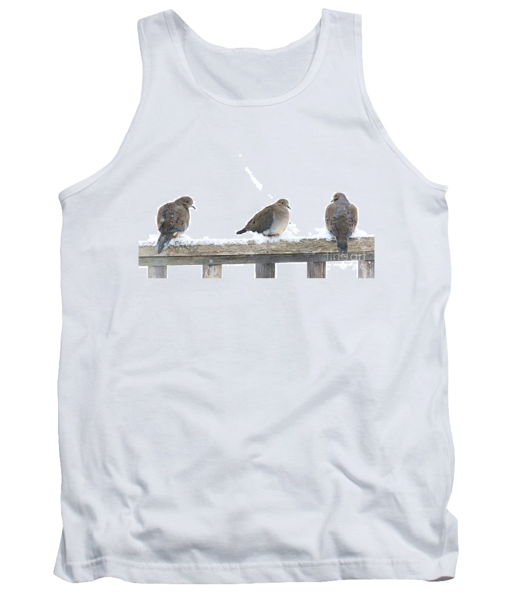 Three Birds Tank Top featuring the photograph Three Doves On A Railing by Cheryl Baxter