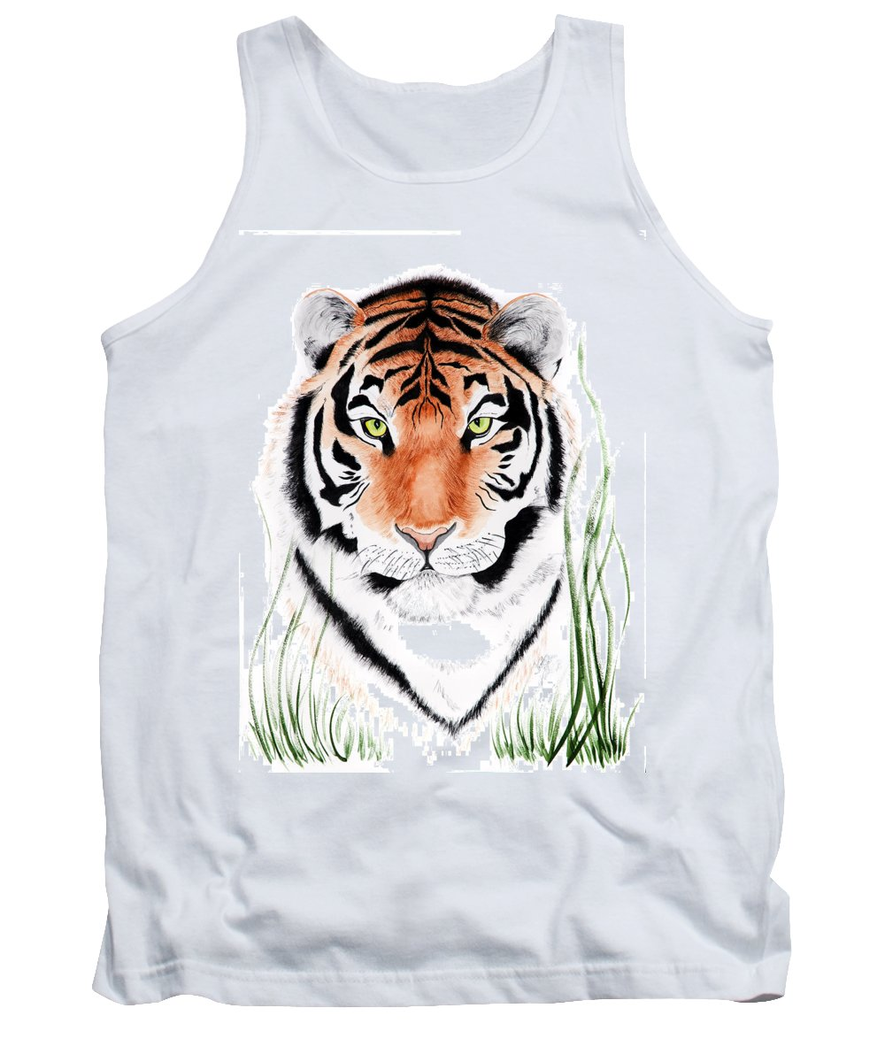 Tiger Tank Top featuring the painting Tiger Tiger Where by Joette Snyder