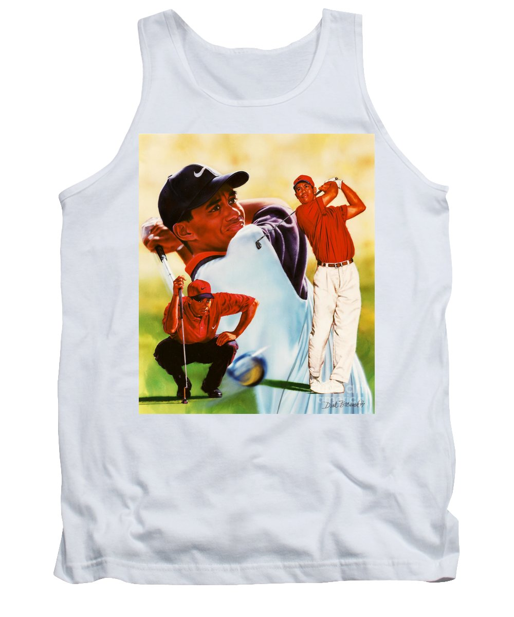 Sports Tank Top featuring the painting Tiger Woods by Dick Bobnick