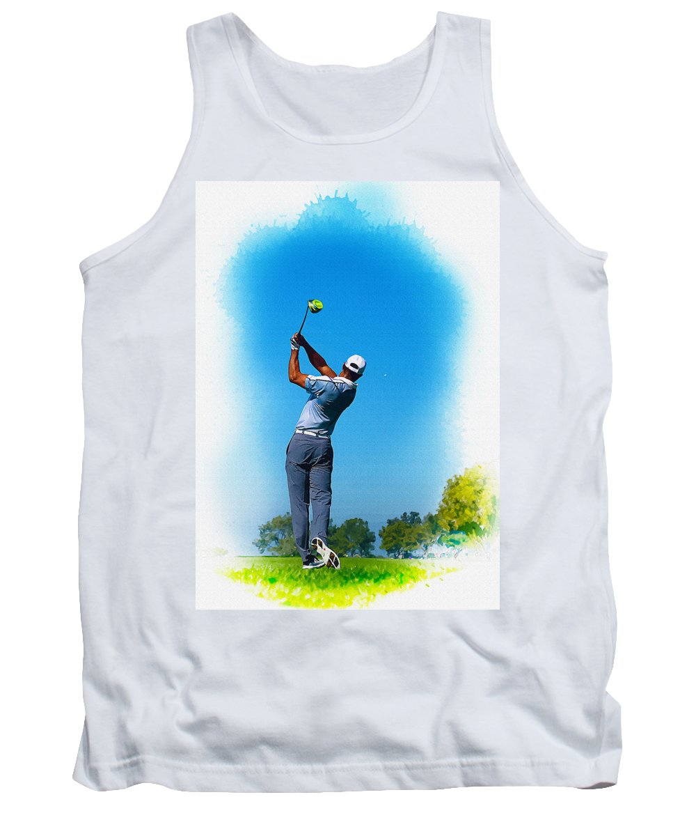 Canada Tank Top featuring the digital art Tiger Woods Plays His Tee Shot On The 15th Hole by Don Kuing
