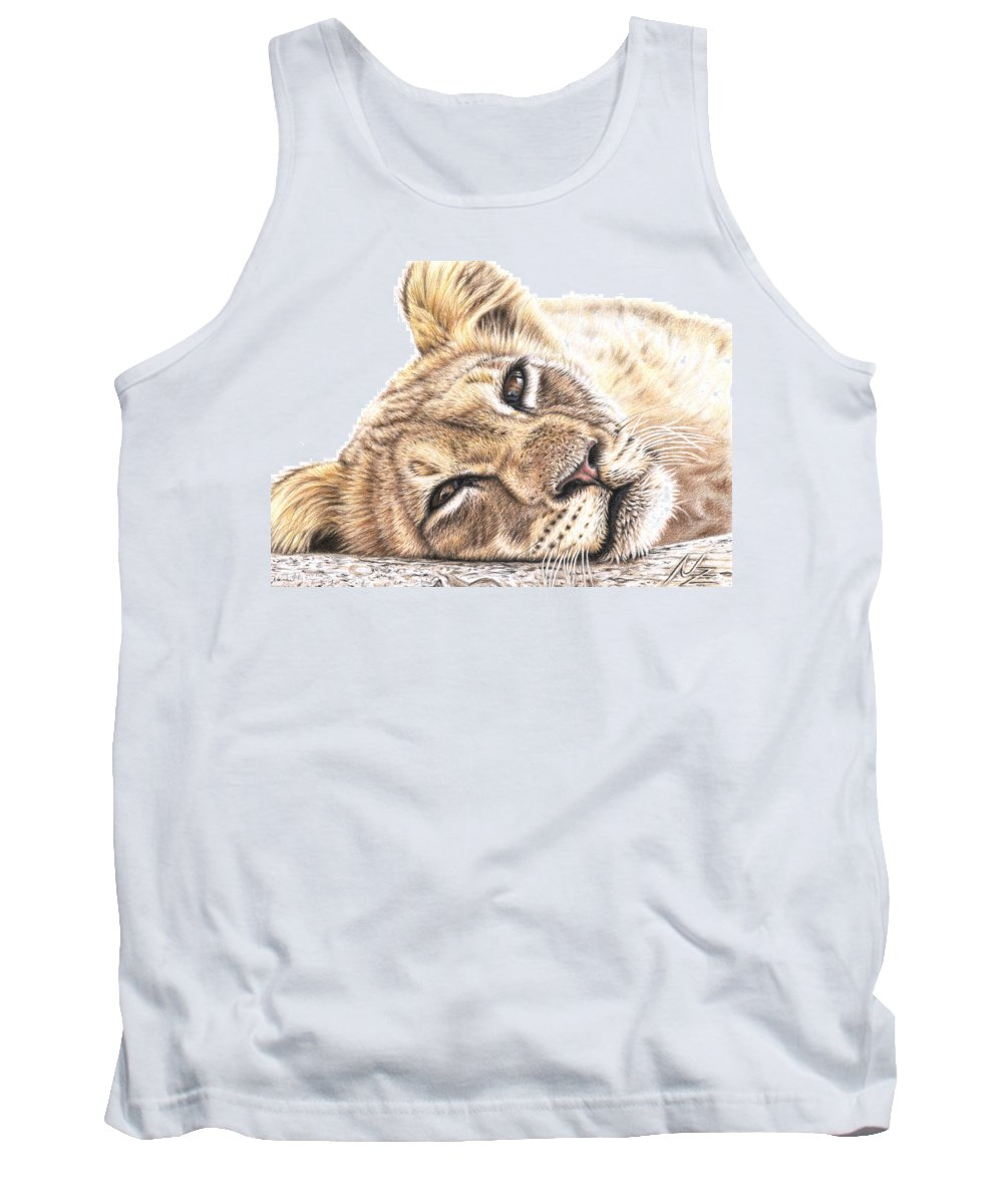 Lion Tank Top featuring the drawing Tired Young Lion by Nicole Zeug