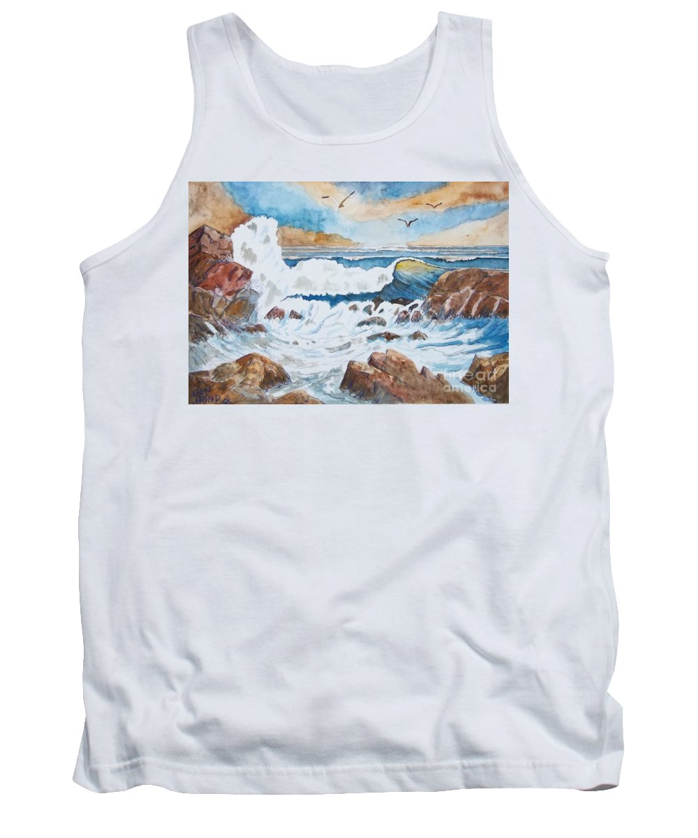 Landscape Tank Top featuring the mixed media To Rough For Fishing by Don Hand