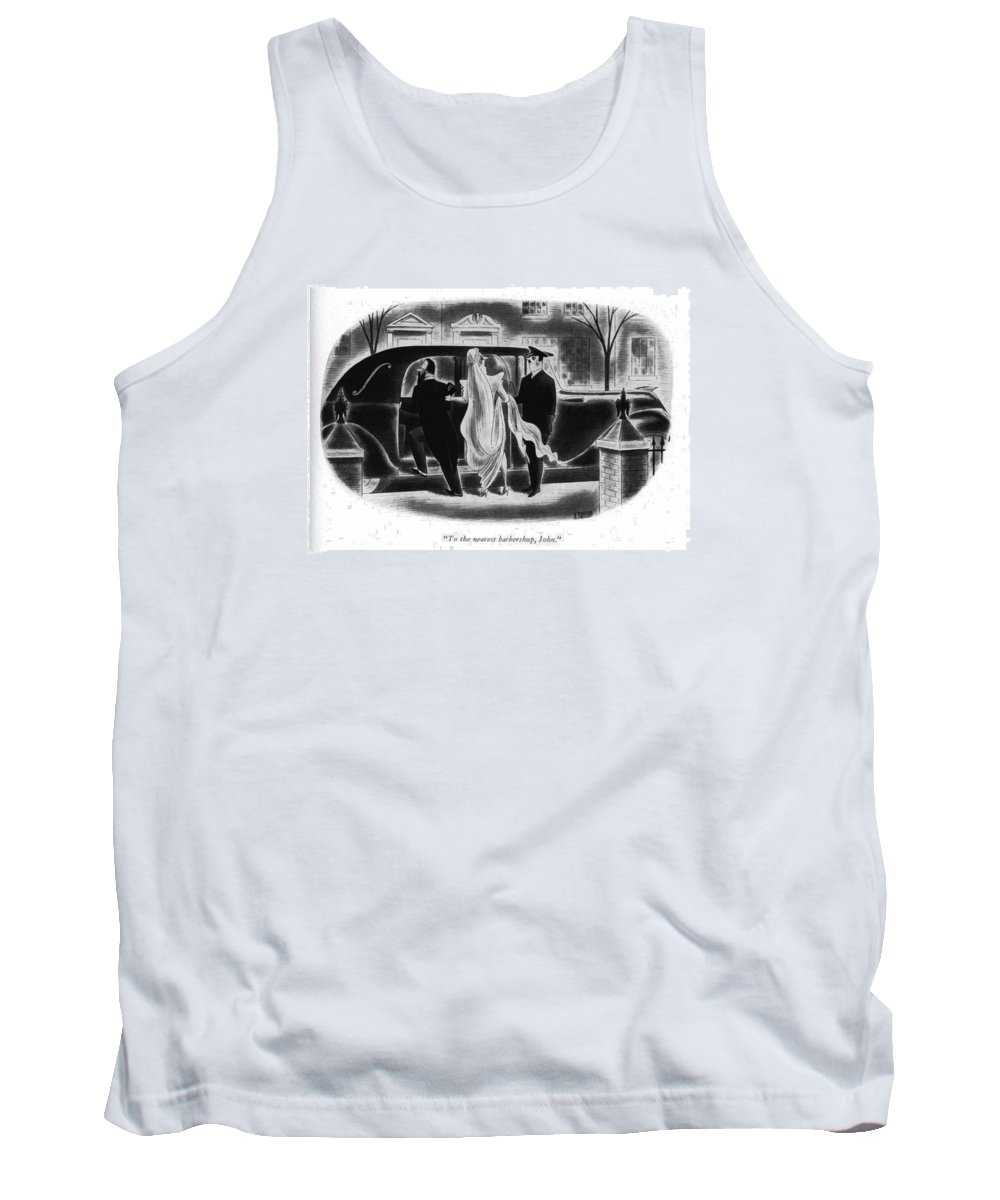 110979 Rta Richard Taylor Bride To Chauffeur After Wedding Tank Top featuring the drawing To The Nearest Barbershop by Richard Taylor