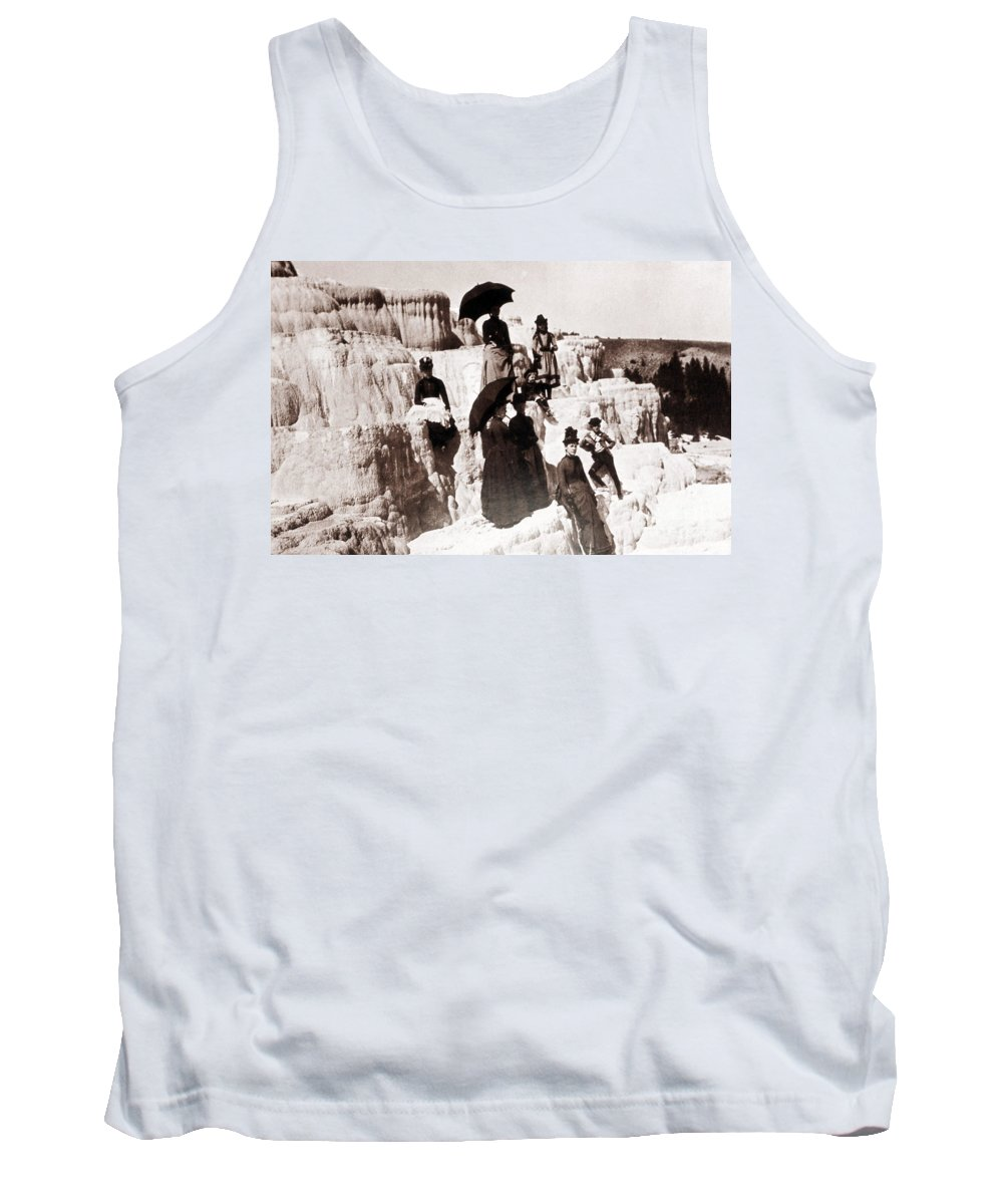 Mammoth Hot Springs Tank Top featuring the photograph Tourists On Mammoth Terraces by NPS Photo