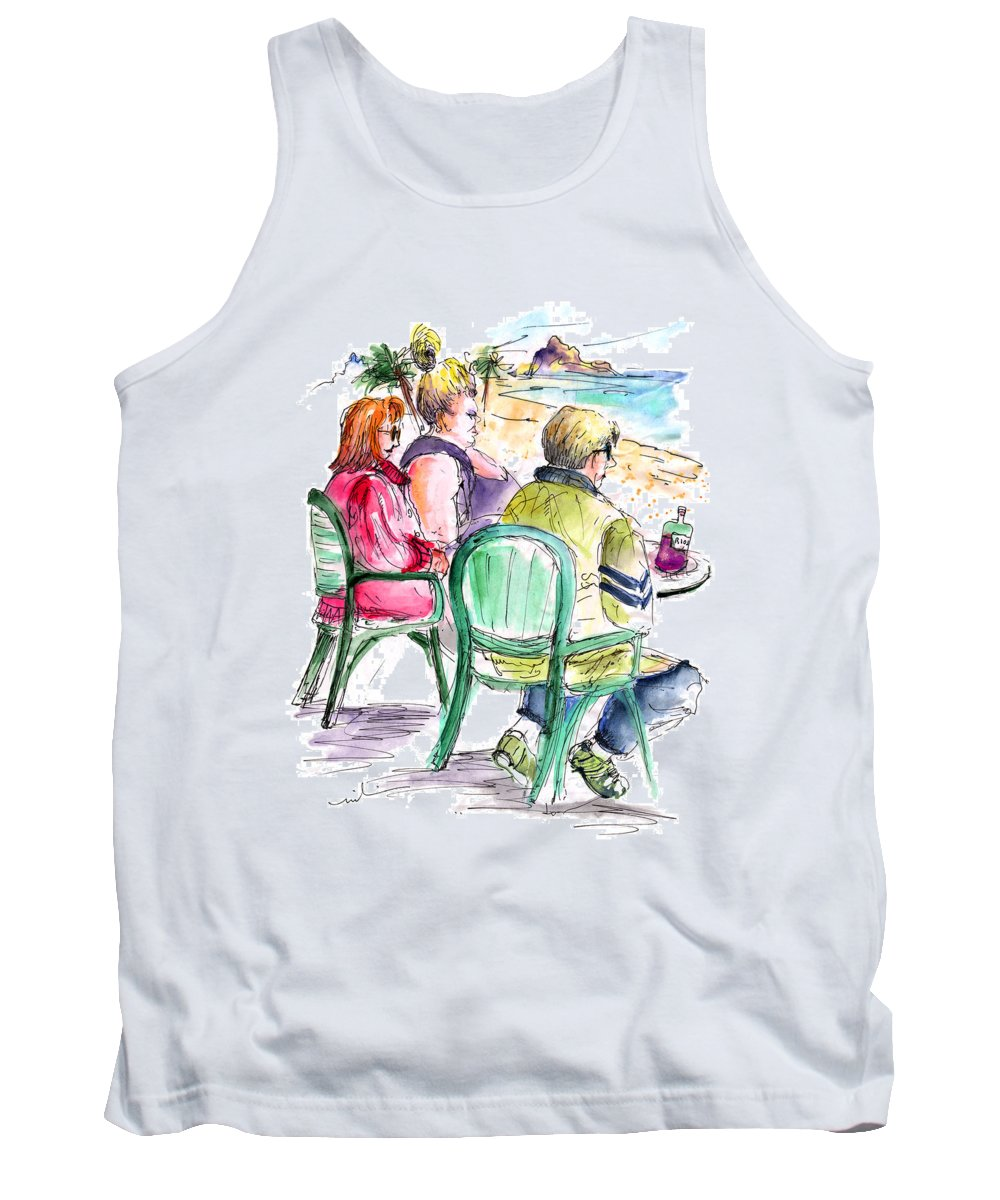 Sketch Tank Top featuring the painting Tourists On The Costa Blanca In Spain by Miki De Goodaboom