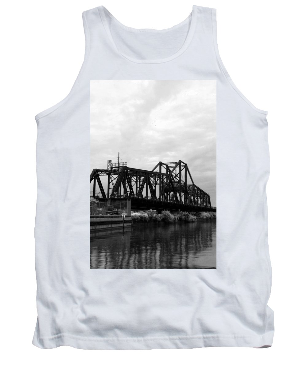 Black Tank Top featuring the photograph Train Bridge by Beverly Stapleton
