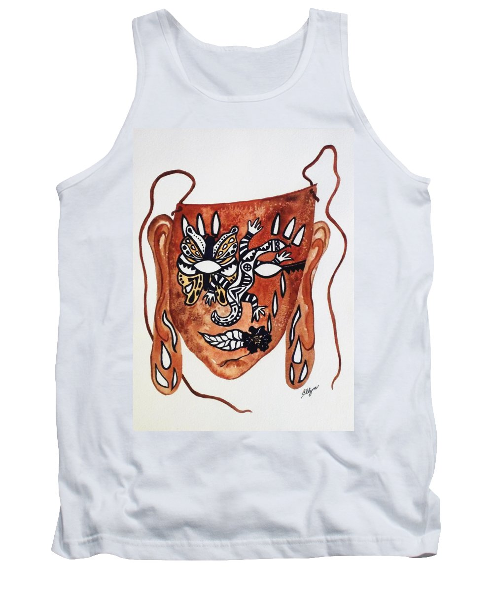 Mask Tank Top featuring the painting Transforming The Dream by Ellen Levinson