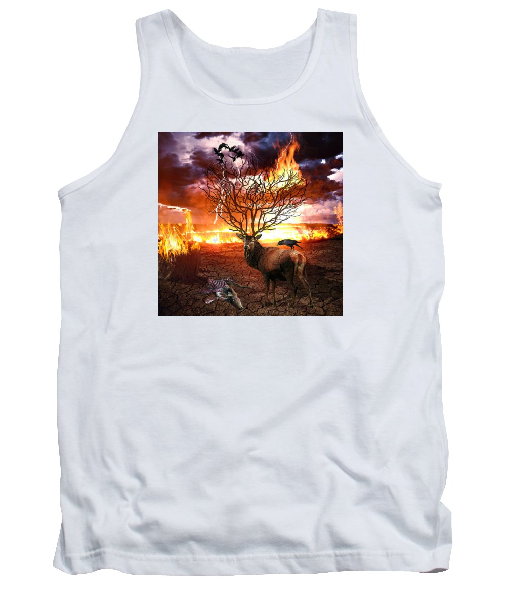 Tree Tank Top featuring the digital art Tree Of Death by Marian Voicu