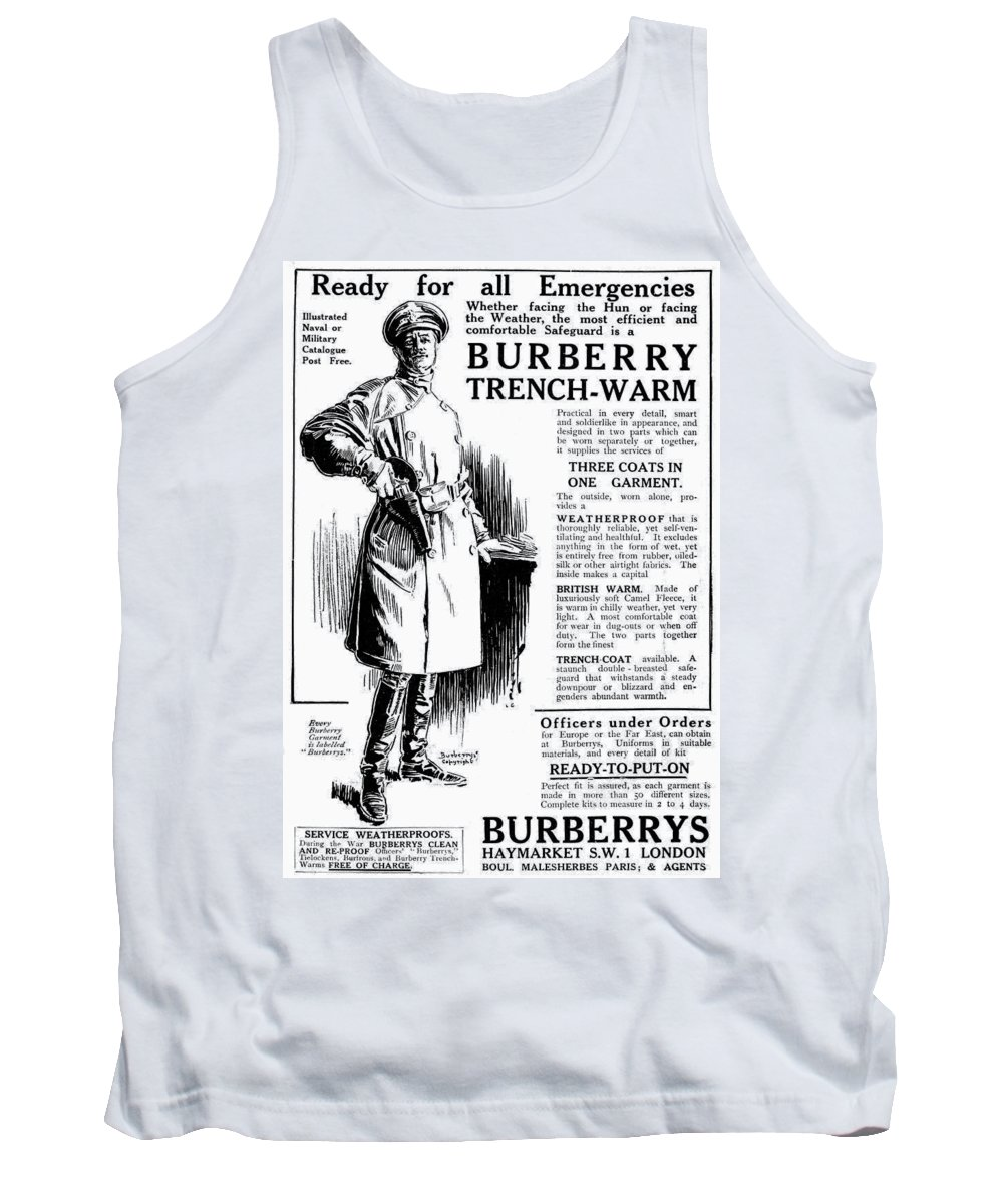 1917 Tank Top featuring the drawing Trench Coat, 1917 by Granger