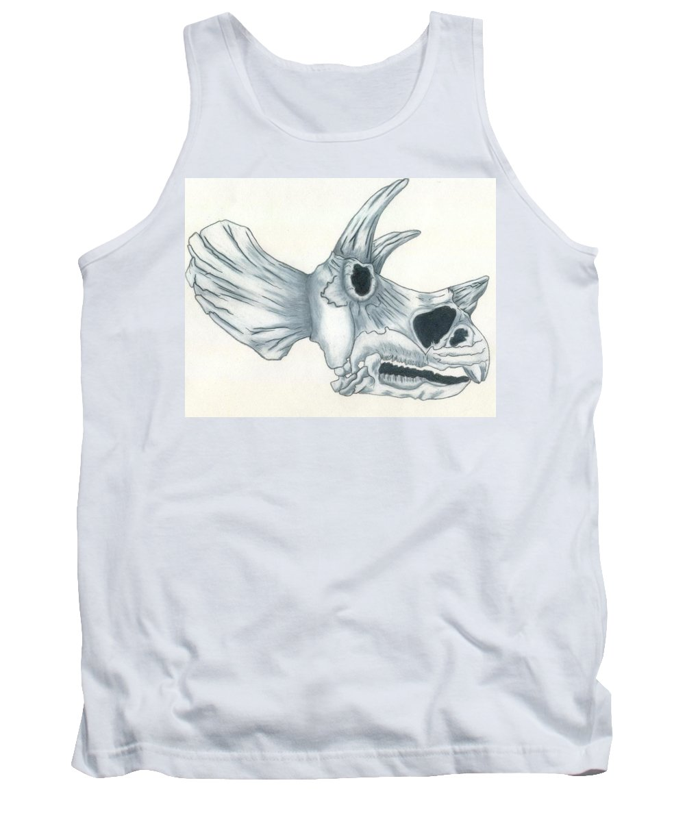 Dinosaur Tank Top featuring the drawing Tricerotops Skull by Micah Guenther