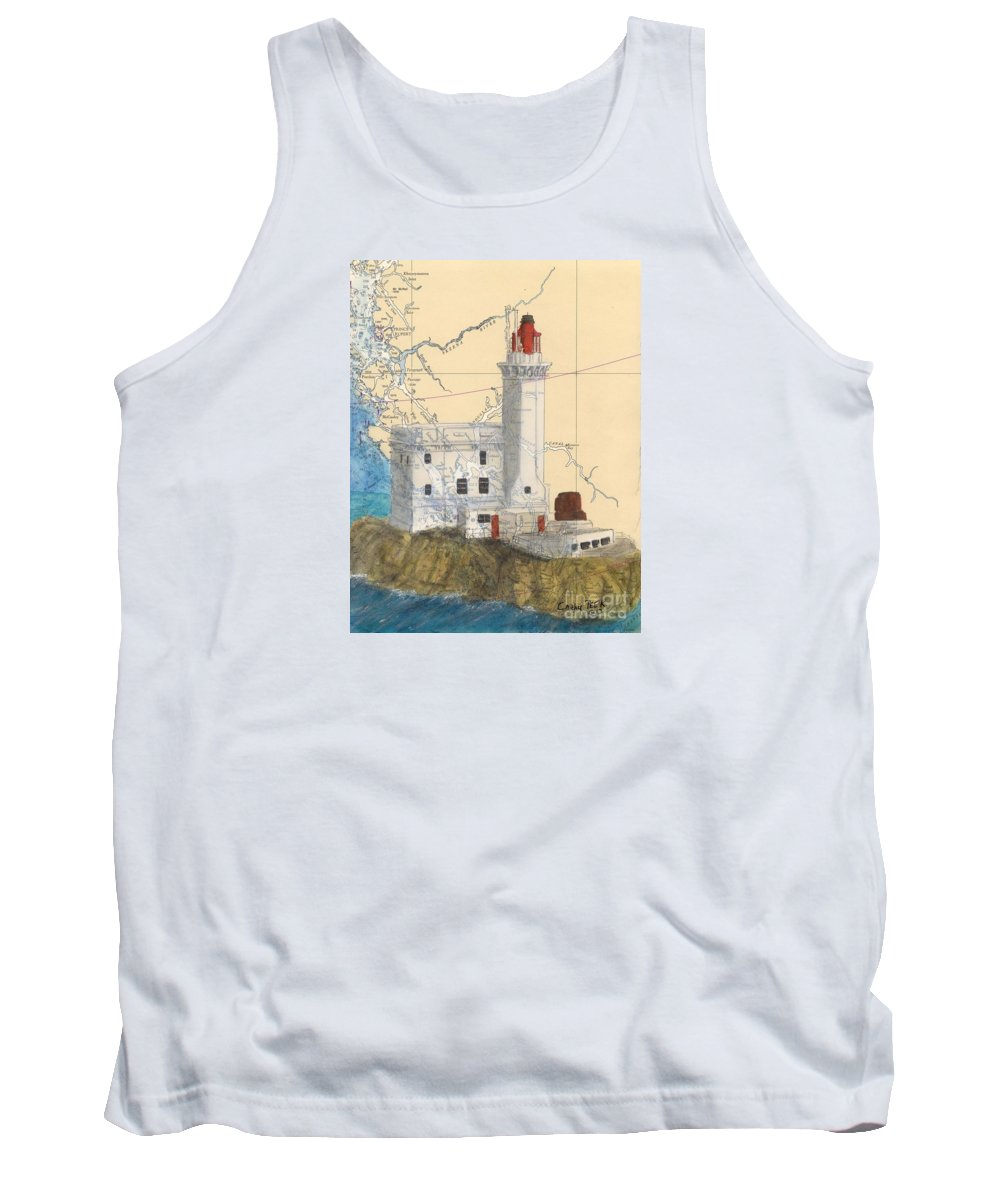 Triple Tank Top featuring the painting Triple Islands Lighthouse Bc Canada Chart Art by Cathy Peek