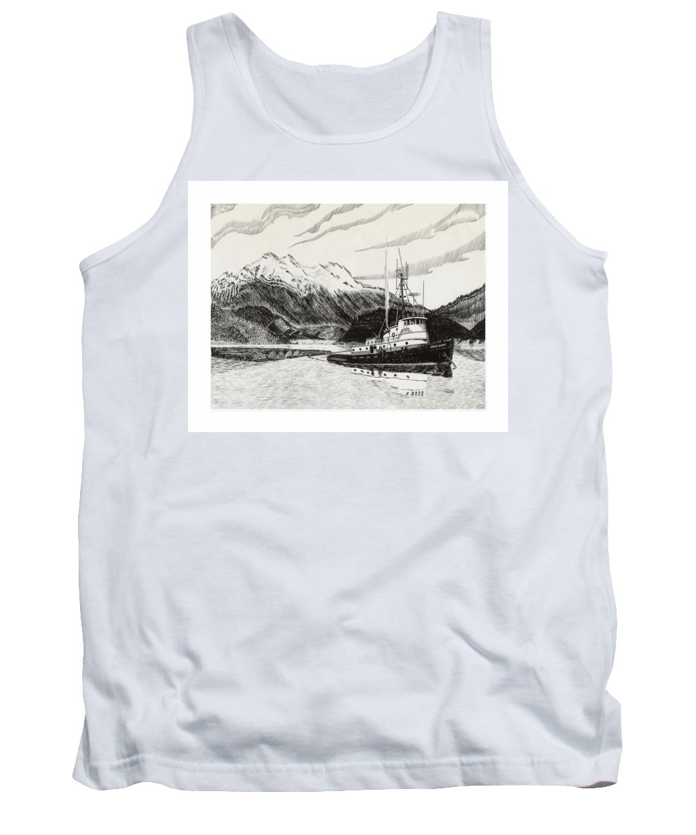 Tugboat Skagit Chief Prints Tank Top featuring the drawing Skagit Chief Tugboat by Jack Pumphrey