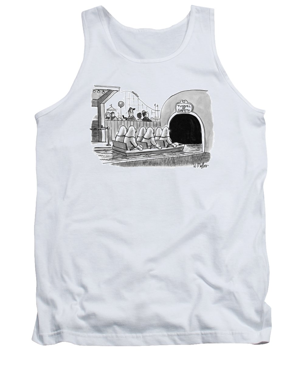 Tunnel Of Safety (amusement Park Water-ride Tank Top featuring the drawing Tunnel Of Safety by Warren Miller