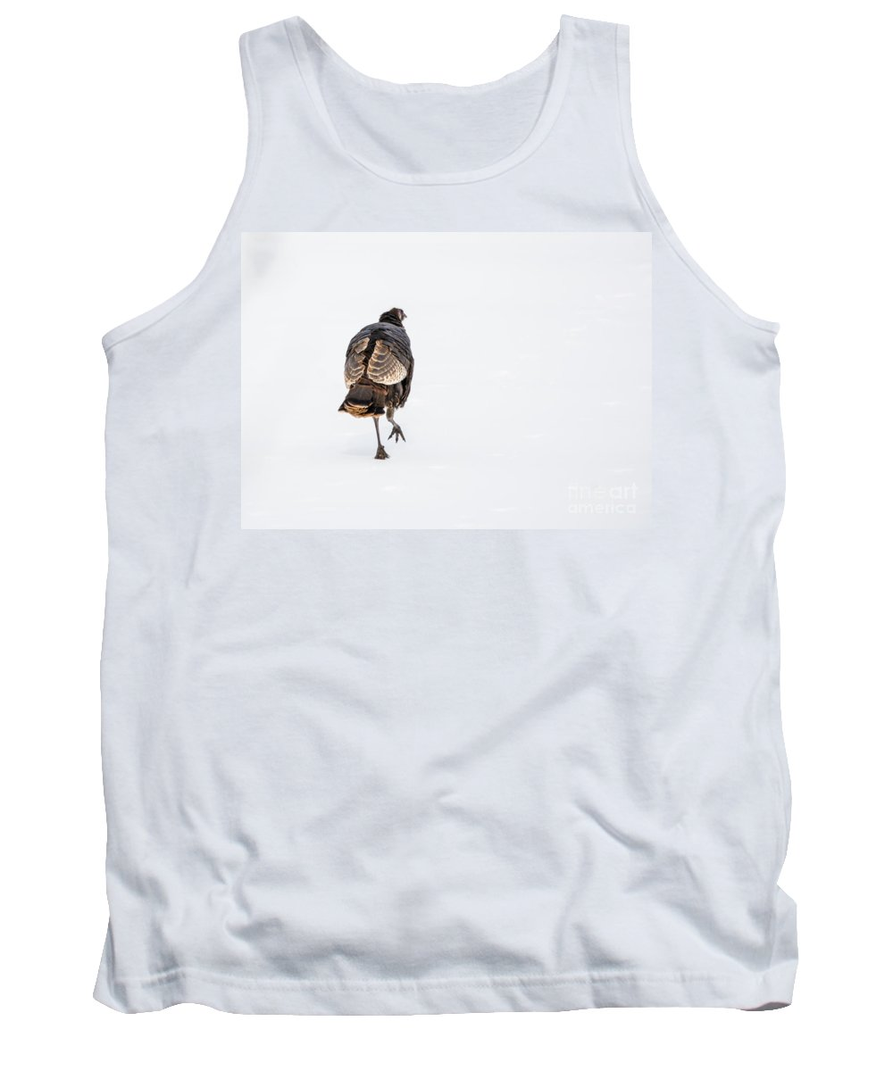 Wild Tank Top featuring the photograph Turkey In The Snow by Cheryl Baxter