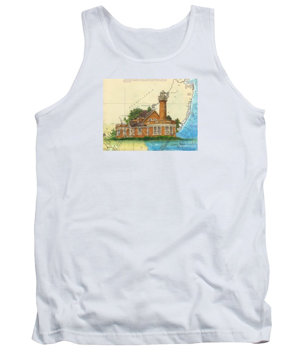 Turtle Tank Top featuring the painting Turtle Rock Lighthouse Pa Chart Map Art by Cathy Peek