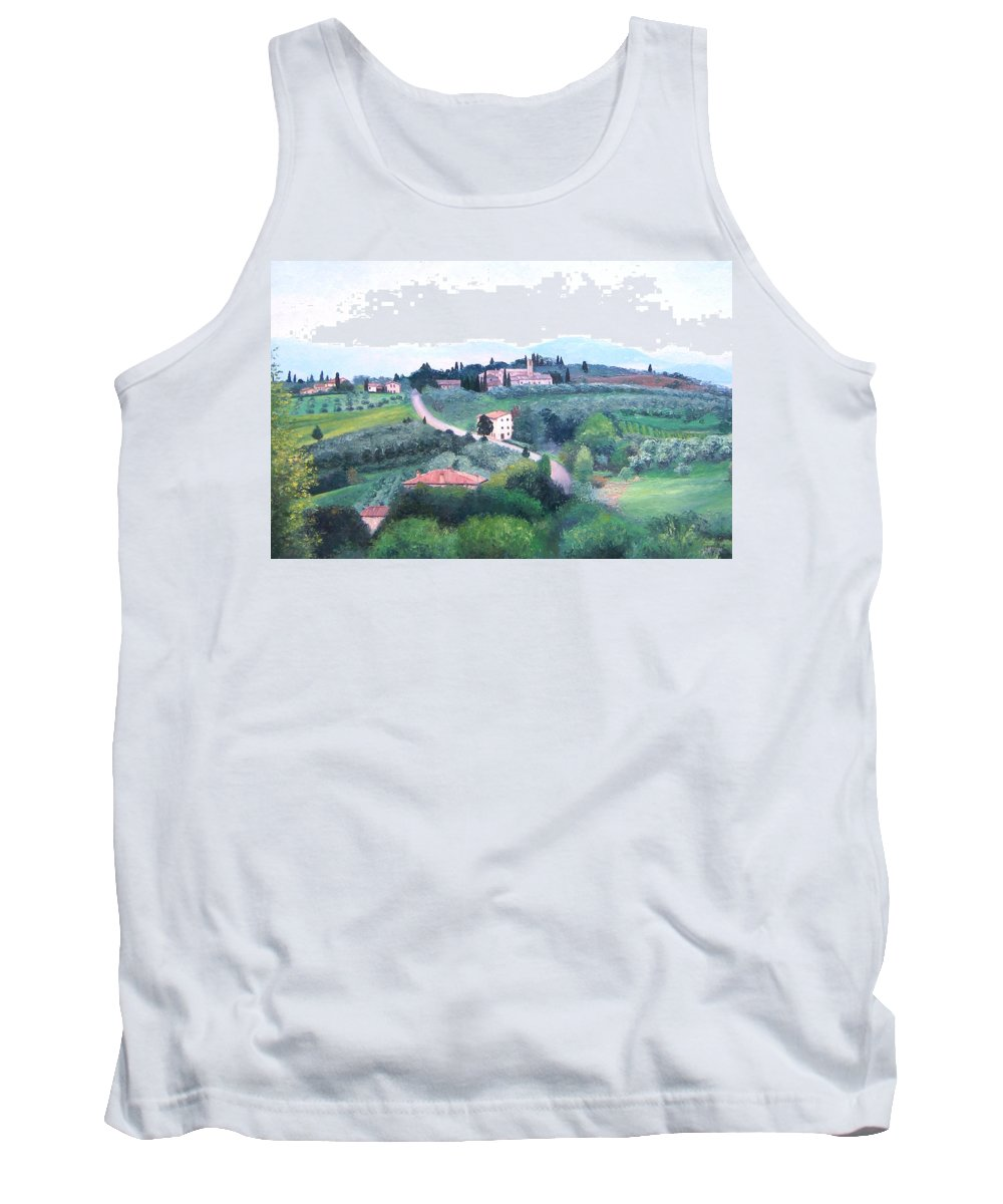 Tuscany Tank Top featuring the painting Tuscany Landscape by Jan Matson