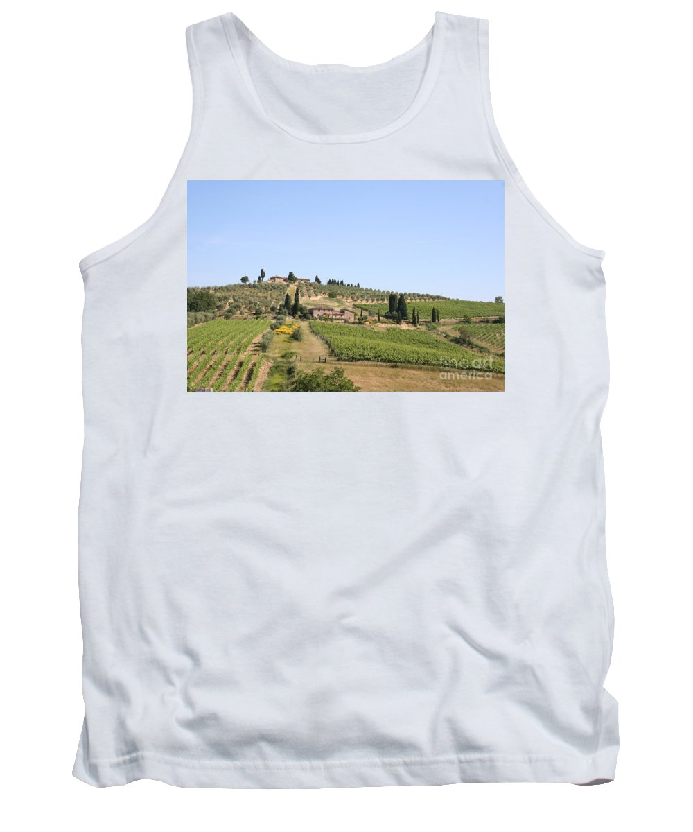 Vineyard Tank Top featuring the photograph Tuscany Vineyard by Christiane Schulze Art And Photography