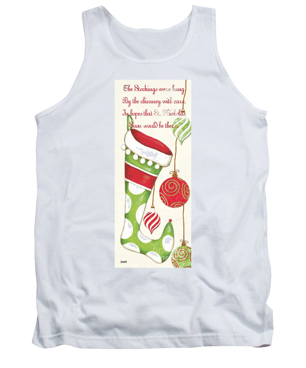 Christmas Tank Top featuring the painting Twas The Night... by Debbie DeWitt