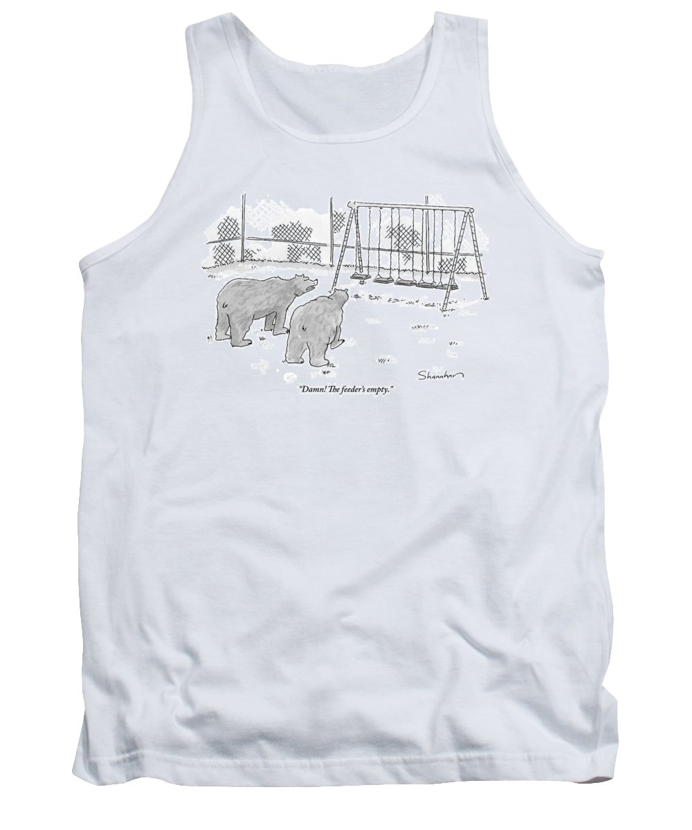 Bears Tank Top featuring the drawing Two Bears Walk Up To An Empty Swing Set by Danny Shanahan