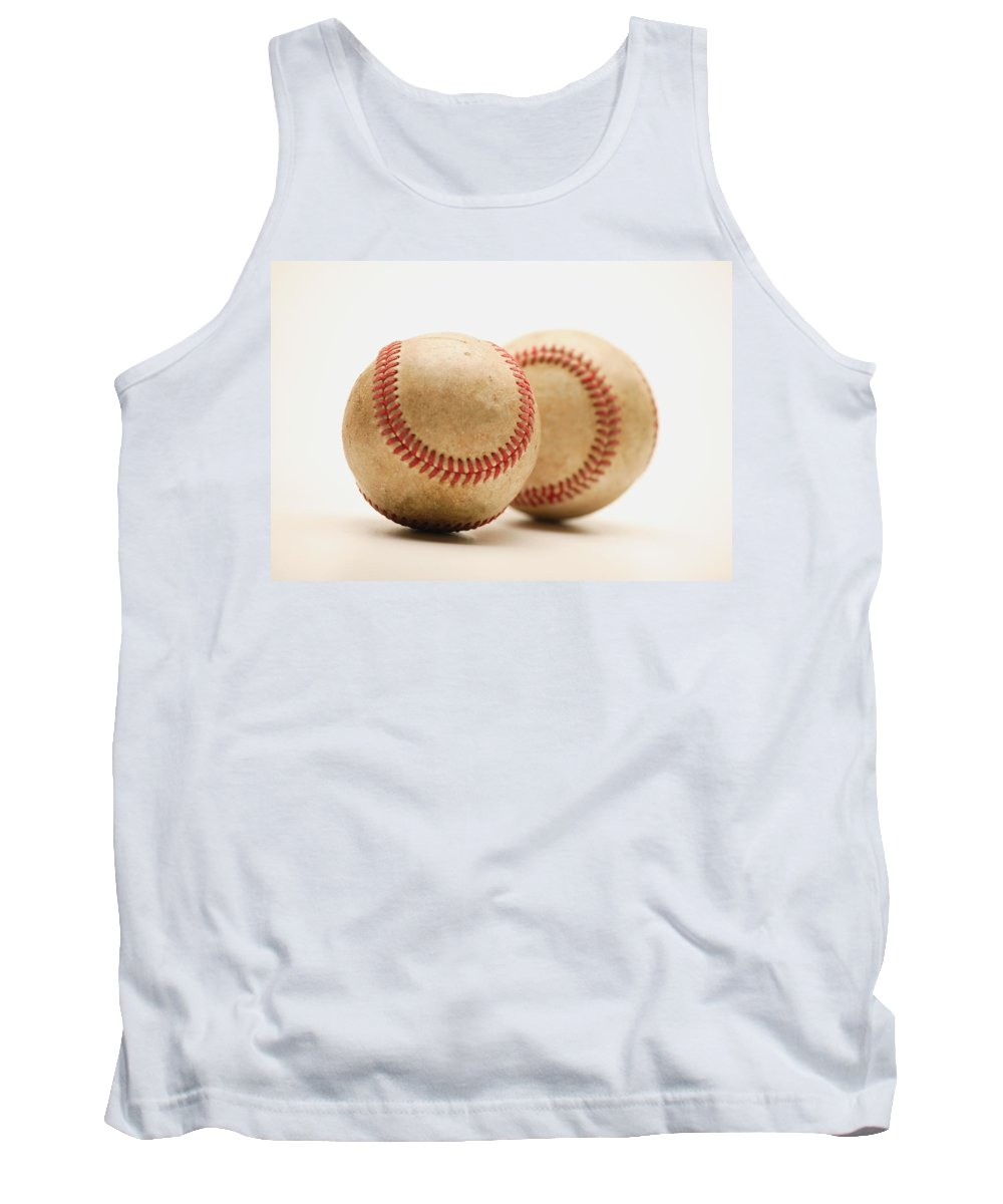 Balls Tank Top featuring the photograph Two Dirty Baseballs by Darren Greenwood