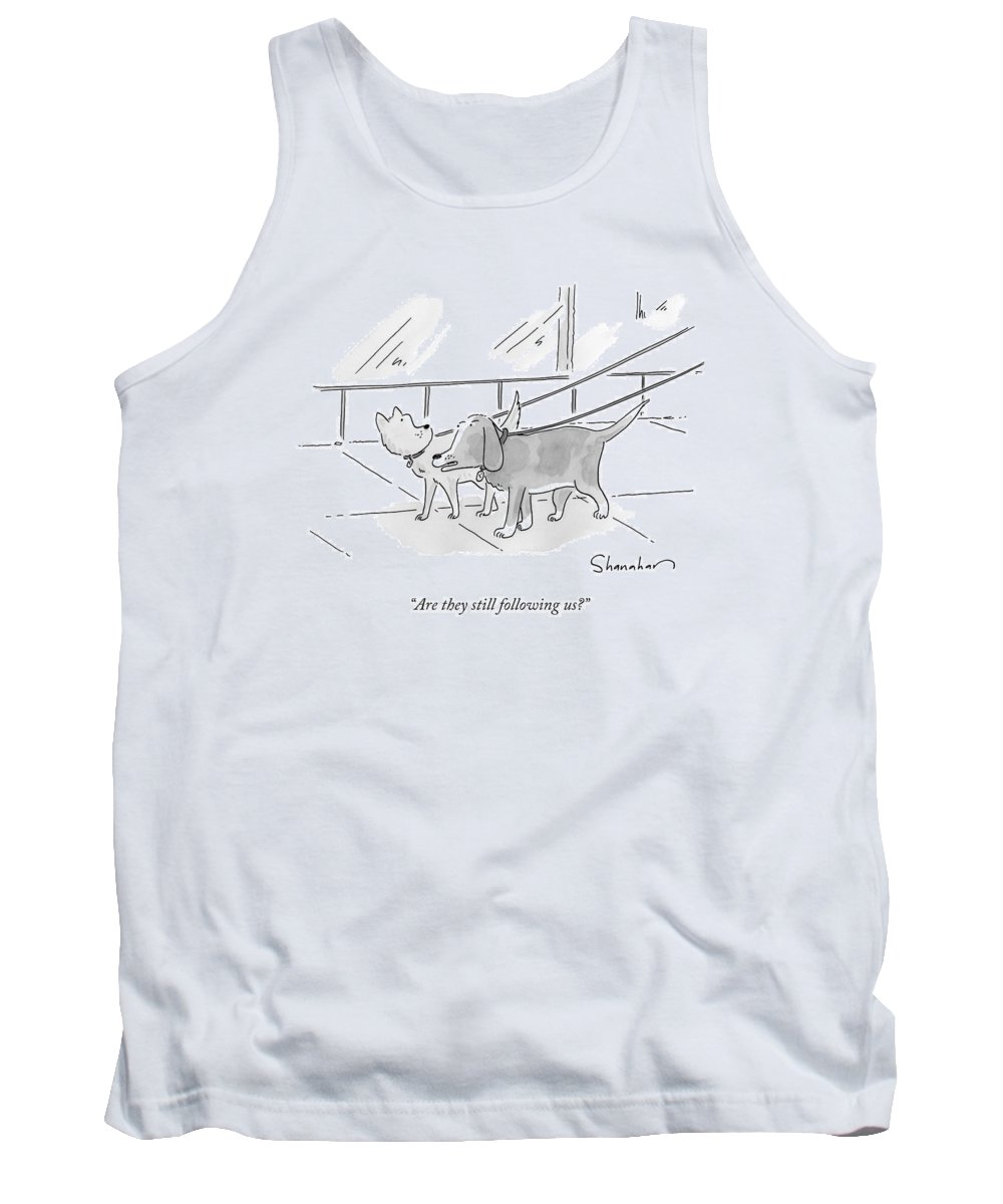Dogs Tank Top featuring the drawing Two Dogs On Leashes by Danny Shanahan