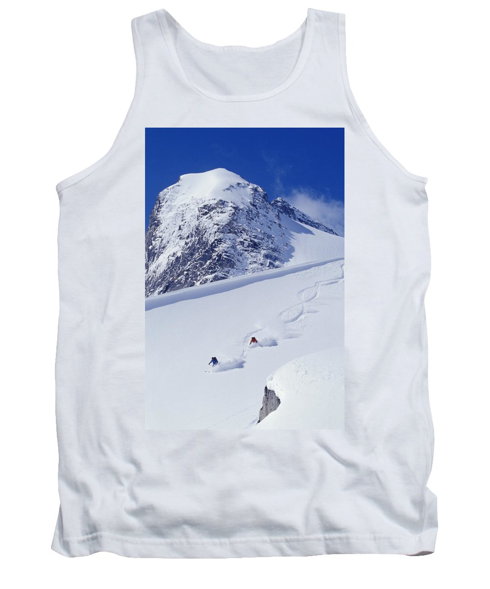 Action Tank Top featuring the photograph Two Young Men Skiing Untracked Powder by Henry Georgi Photography Inc