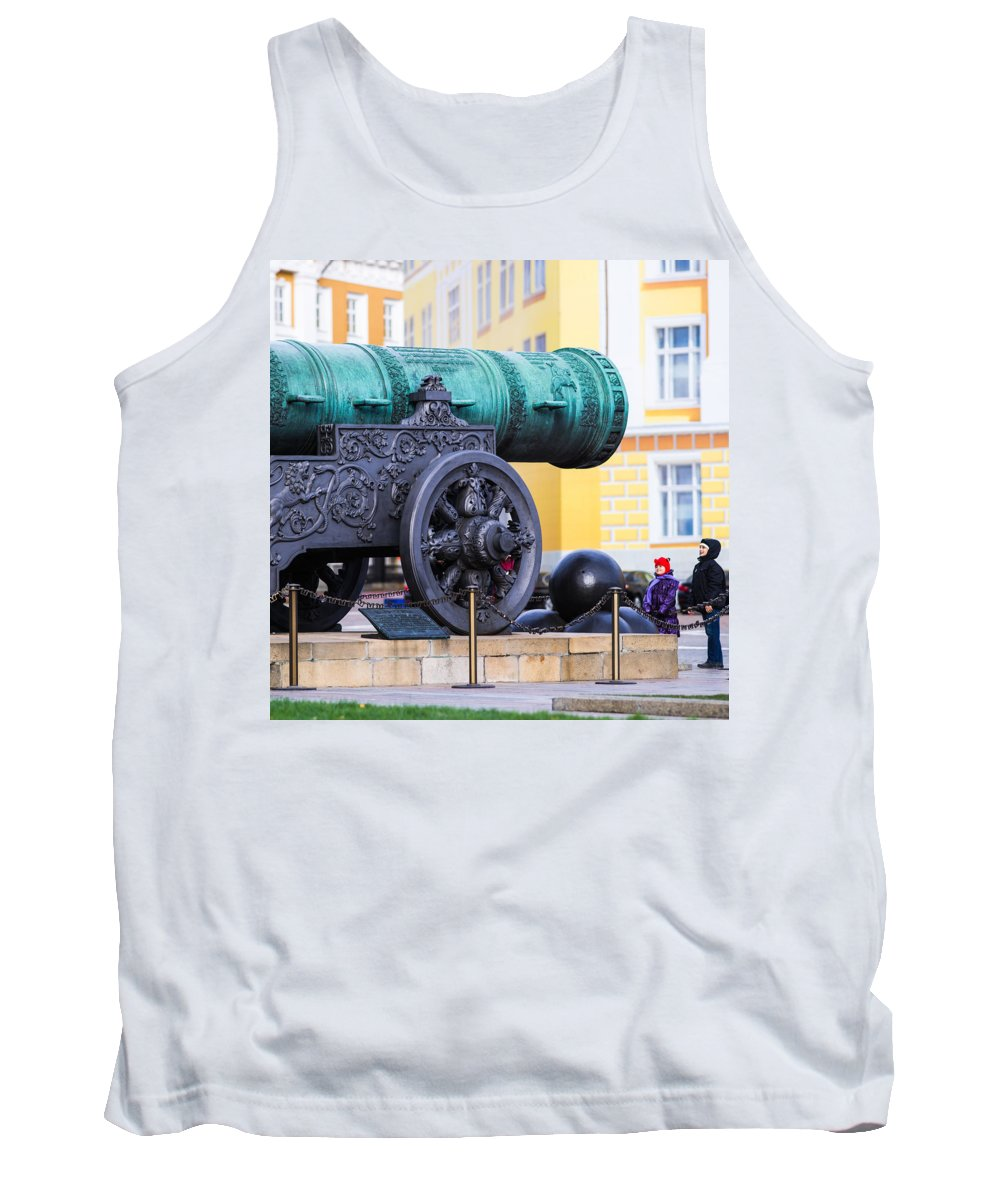 Architecture Tank Top featuring the photograph Tzar Cannon Of Moscow Kremlin - Square by Alexander Senin