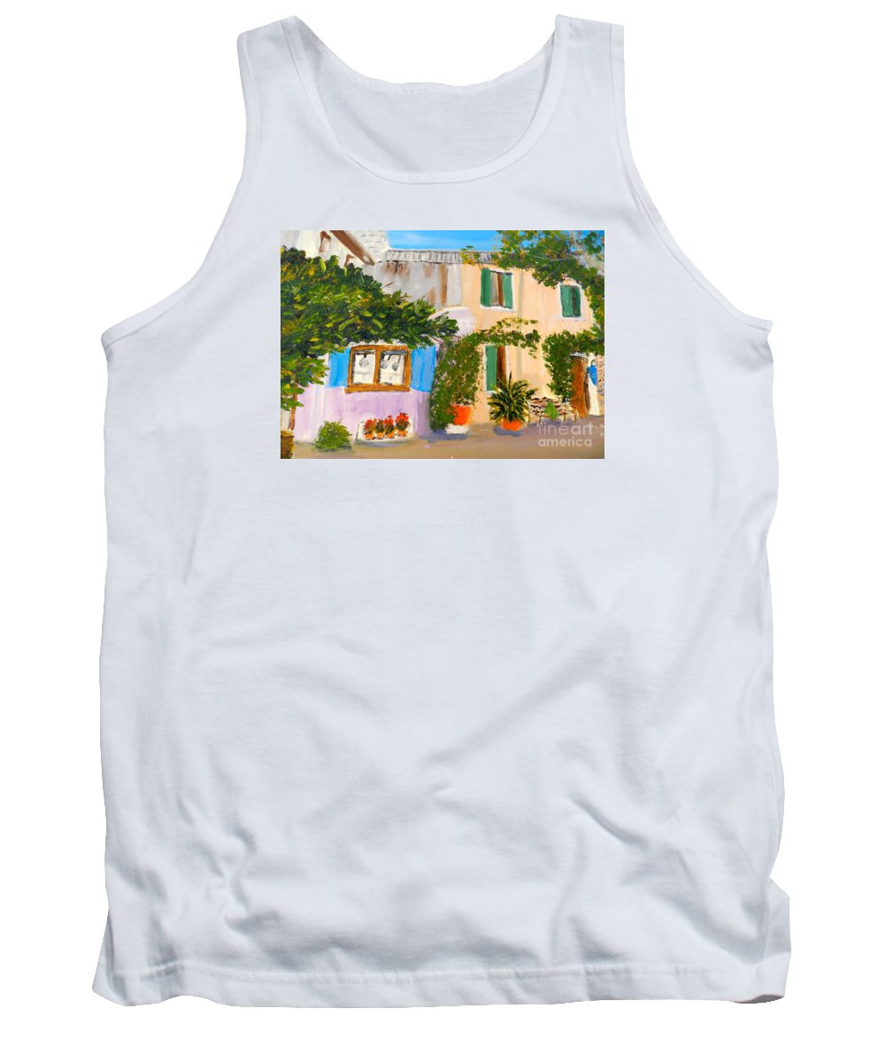 Impressionism Tank Top featuring the painting Umbera Courtyard by Pamela Meredith