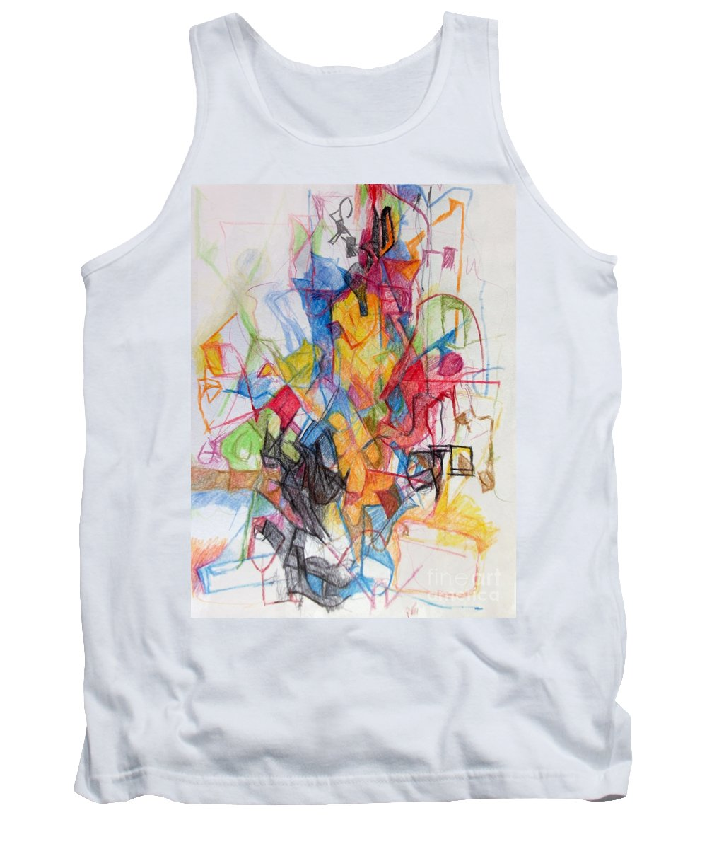 Torah Tank Top featuring the drawing Uncovering Alternative Solution 1 by David Baruch Wolk