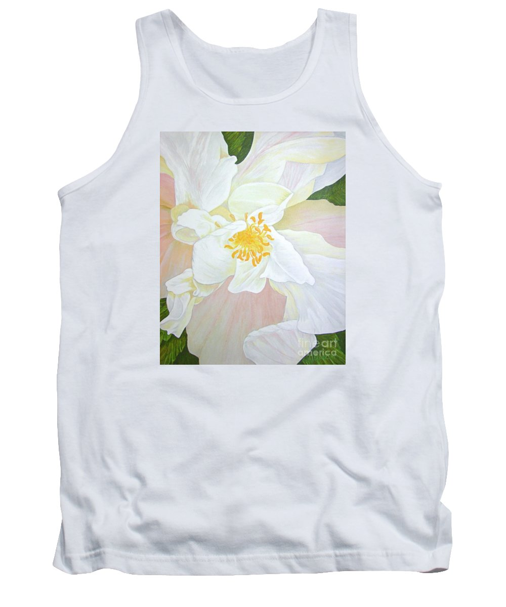 White Tank Top featuring the painting Unfurling White Hibiscus by Mary Deal