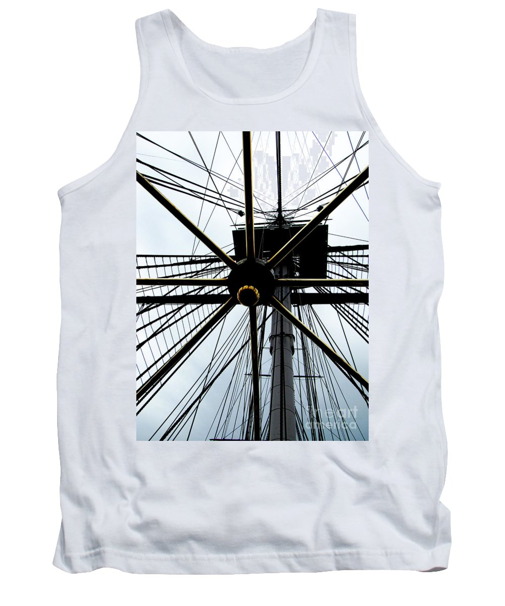 Sailing Tank Top featuring the photograph Up The Rigging by Ron Tackett