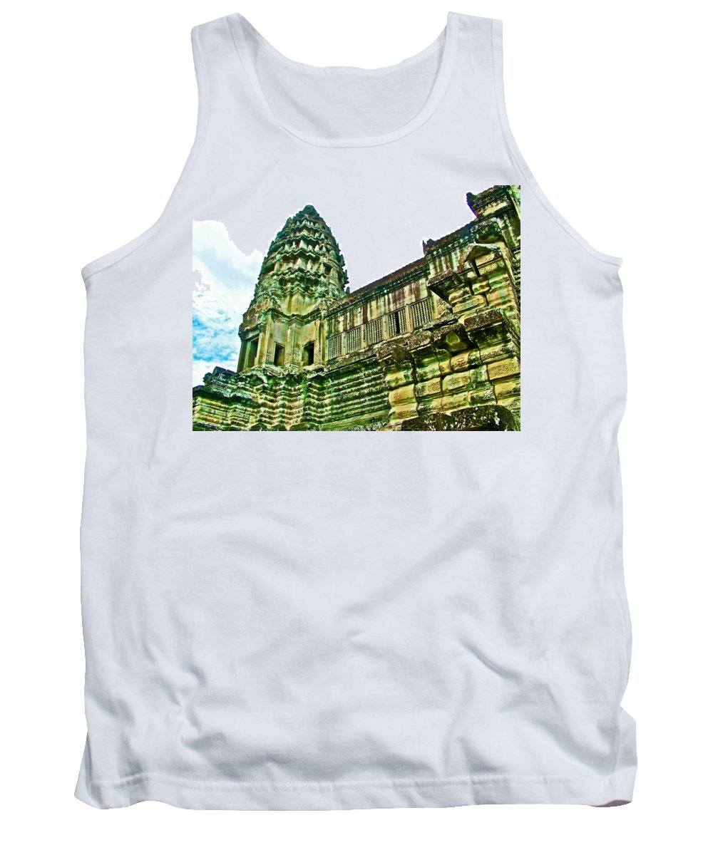 Upper Level Tower In Angkor Wat In Angkor Wat Archeological Park Near Siem Reap Tank Top featuring the photograph Upper Level Tower In Angkor Wat In Angkor Wat Archeological Park Near Siem Reap-cambodia by Ruth Hager