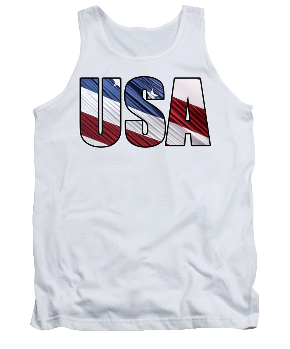 Patriotic Tank Top featuring the photograph Usa In Red White And Blue American Patriotic Flag by Shelley Neff