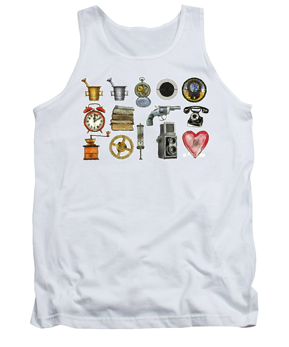 Icon Tank Top featuring the drawing Various Object - Signs - Icons by Michal Boubin
