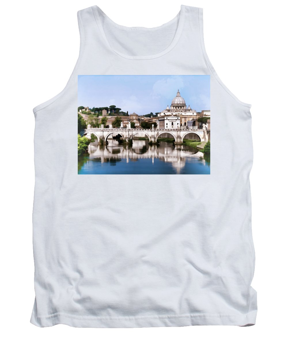 Europe Tank Top featuring the painting Vatican City Seen From Tiber River by Elaine Plesser