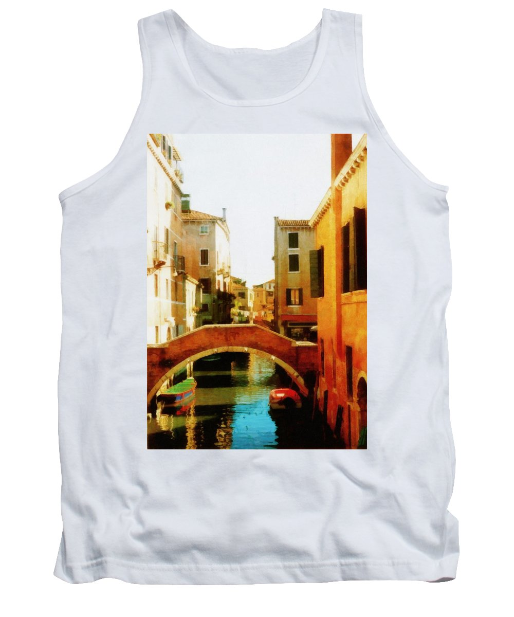 Venice Tank Top featuring the photograph Venice Italy Canal With Boats And Laundry by Michelle Calkins