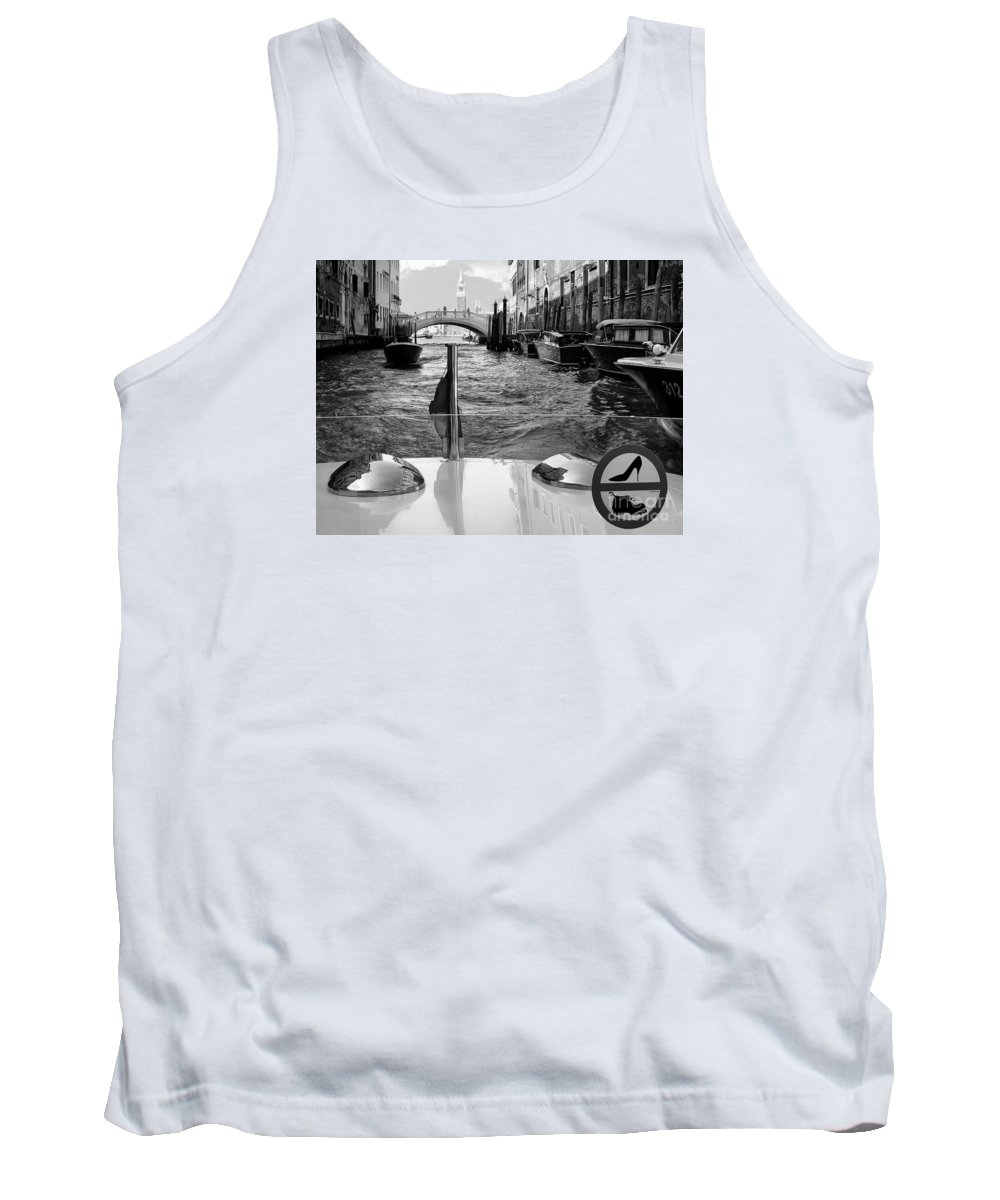 Black Tank Top featuring the photograph Venice Motor Boat II by Jennie Breeze