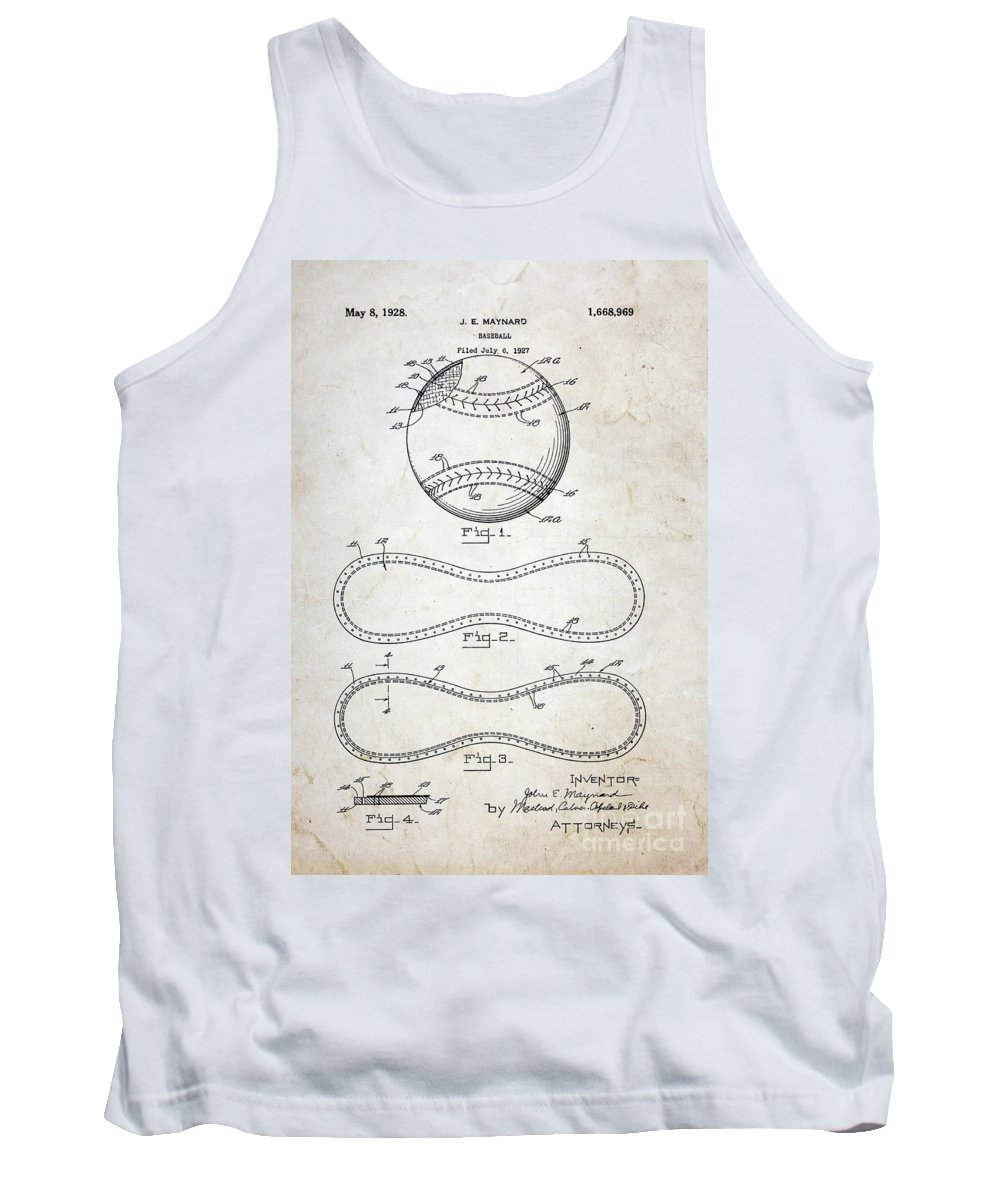 Paul Ward Tank Top featuring the photograph Vintage Baseball Patent by Paul Ward