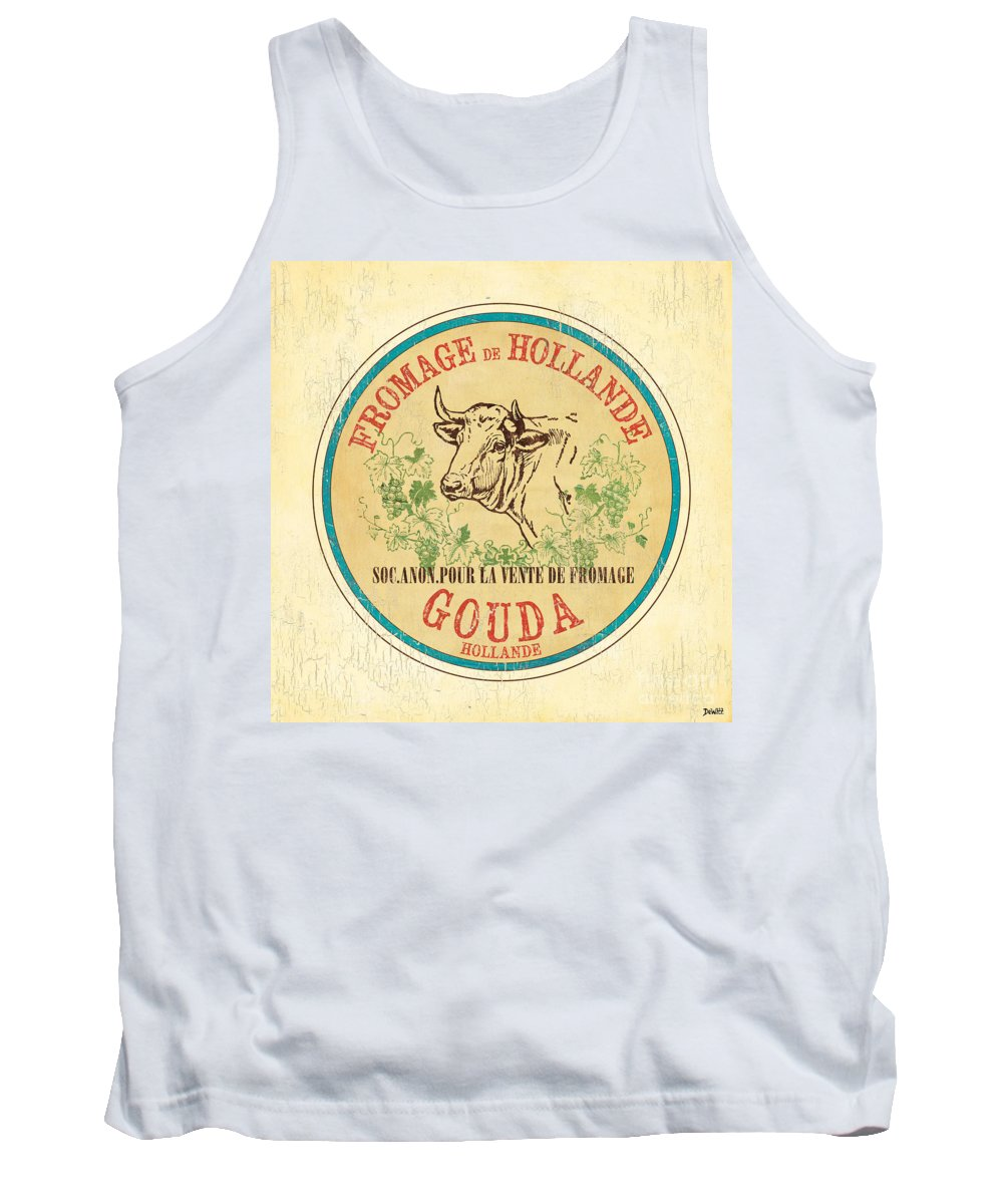 Cuisine Tank Top featuring the painting Vintage Cheese Label 1 by Debbie DeWitt