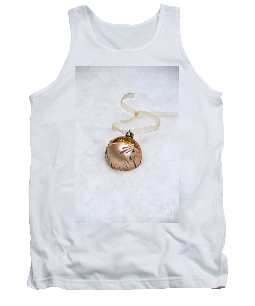 Ornament Tank Top featuring the photograph Vintage Christmas Ornament In Snow by Jill Battaglia