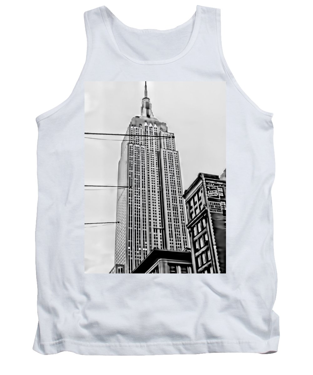 Tank Top featuring the digital art Vintage Empire State Building by Cathy Anderson