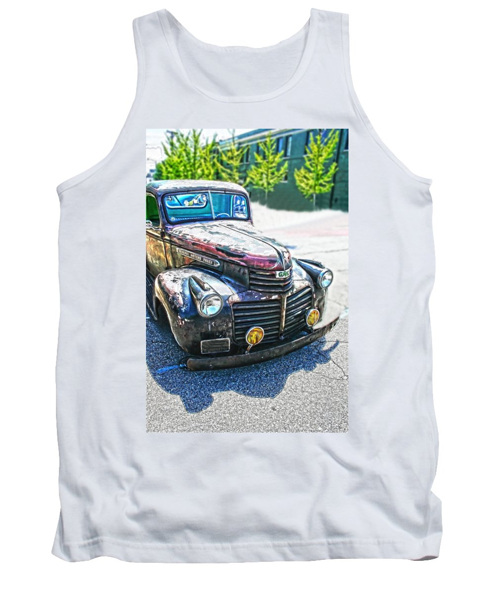 Gm Tank Top featuring the photograph Vintage Gm Truck Frontal Hdr by Lesa Fine